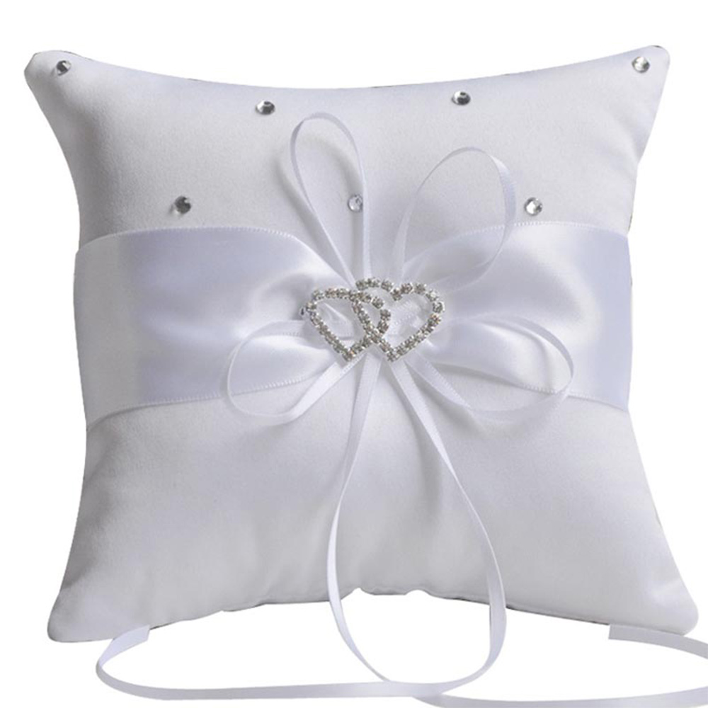 flower pillow inches diamante satin product wedding products image ring ivory