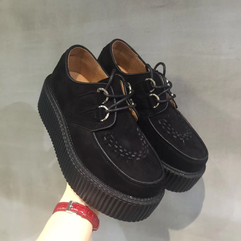 Chaussures Harajuku noires chaussures à lacets classiques plate-forme haute Creepers mode Harajuku chaussures Punk chaussures décontractées pour femmes chaussures à plate-forme