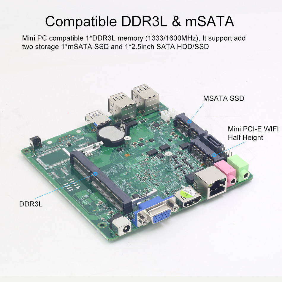 Image 5 - Fanless Intel Core i3 4010U i5 4210Y Mini PC Windows 10 Barebone PC WiFi Business Household Mini Computer Micro-in Mini PC from Computer & Office