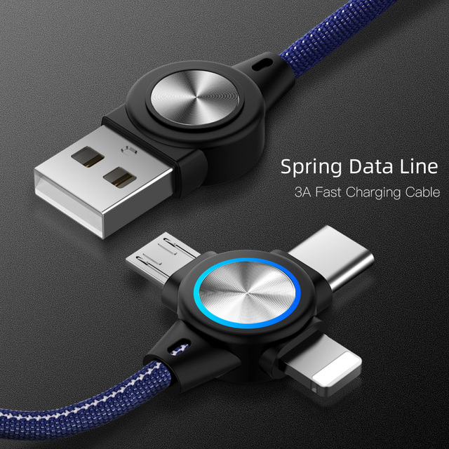 3 in 1 USB Cable for Mobile Phone Micro USB Type C 8 Pin Charger Cable