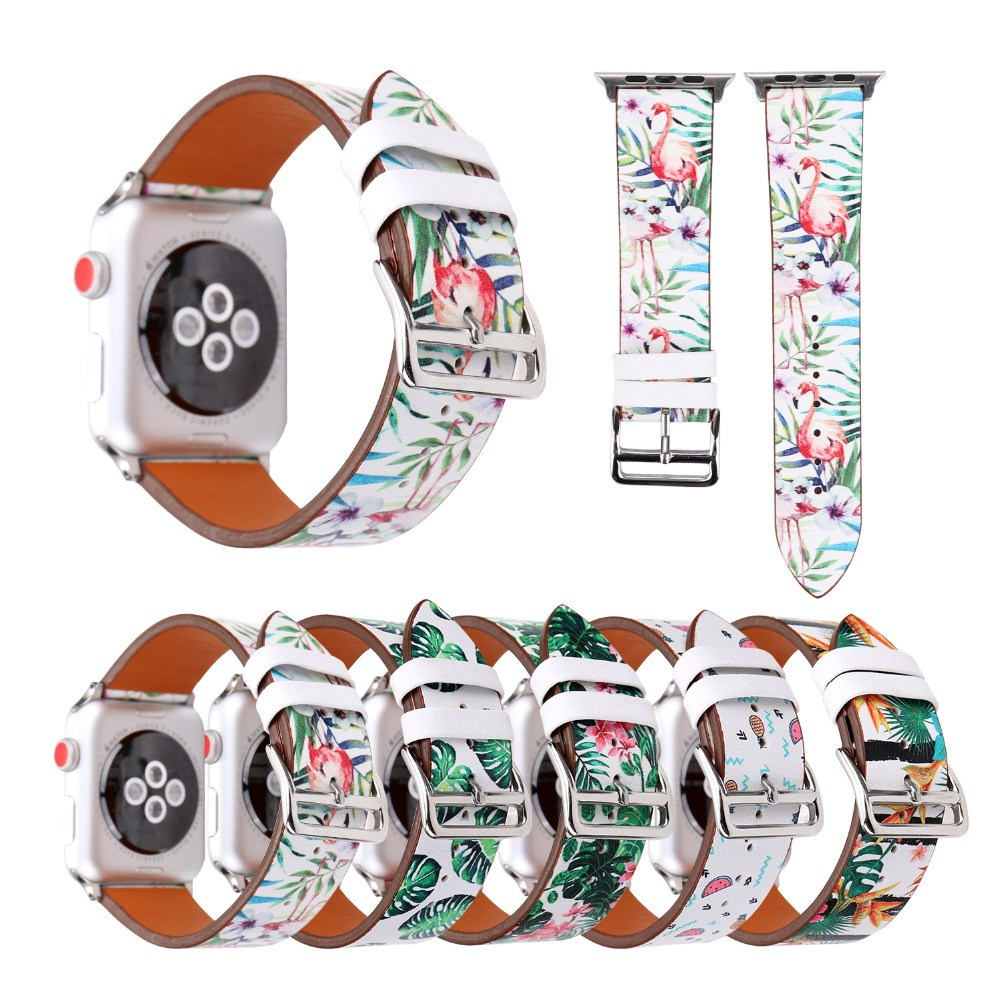 Flamingo print leather band for apple watch series 4 3 2 1 floral Leather Replacement strap for Apple watch 44/42/40/38 womenFlamingo print leather band for apple watch series 4 3 2 1 floral Leather Replacement strap for Apple watch 44/42/40/38 women