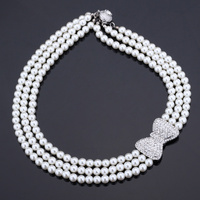 Choker Necklace New Jewelry For Women Elegant Bride Jewelry With Gift Box White Pearl Bead Rhinestone