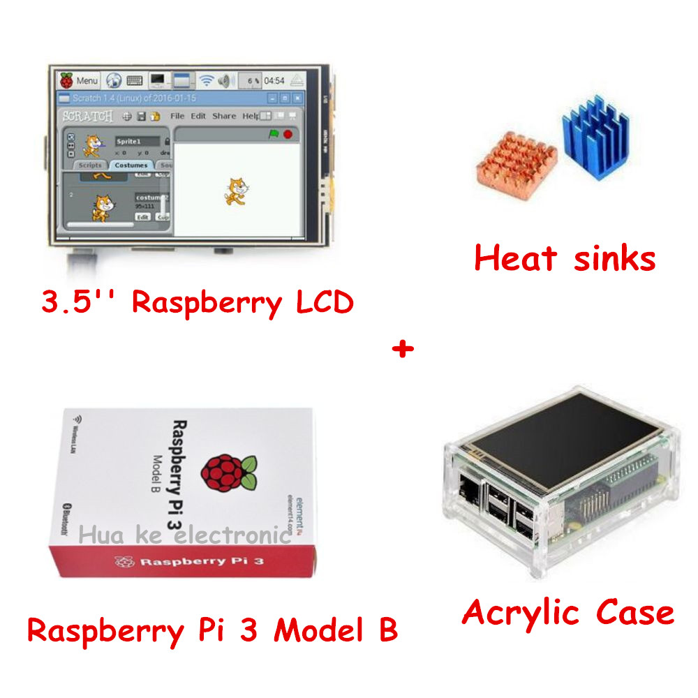 Prix pour 3.5 ''Framboise LCD TFT Écran + Raspberry Pi 3 Modèle B + Acrylique Cas + dissipateurs De Chaleur