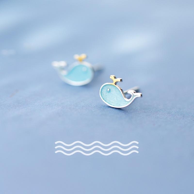 MloveAcc/100% Стерлинговое Серебро S925 пробы, синие серьги-гвоздики с милым Китом для девочек, детские креативные милые ювелирные изделия с морски...