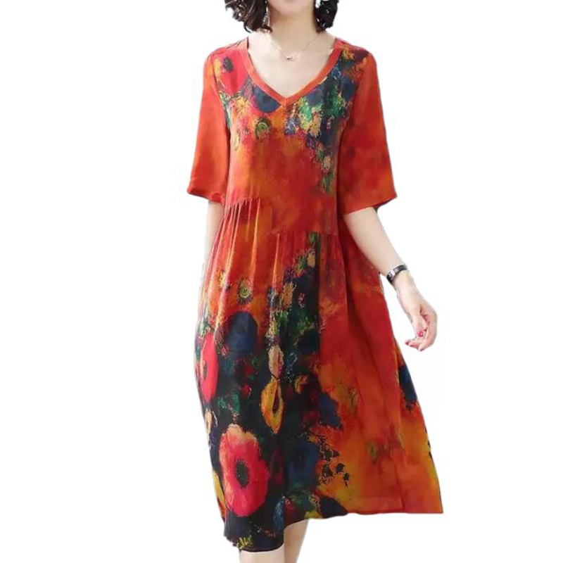 2019 New Arrival Women Silk Dress Female Summer Half Sleeve V-Neck Vintage Print Dresses Loose Casual Plus Size Vestidos Mujer