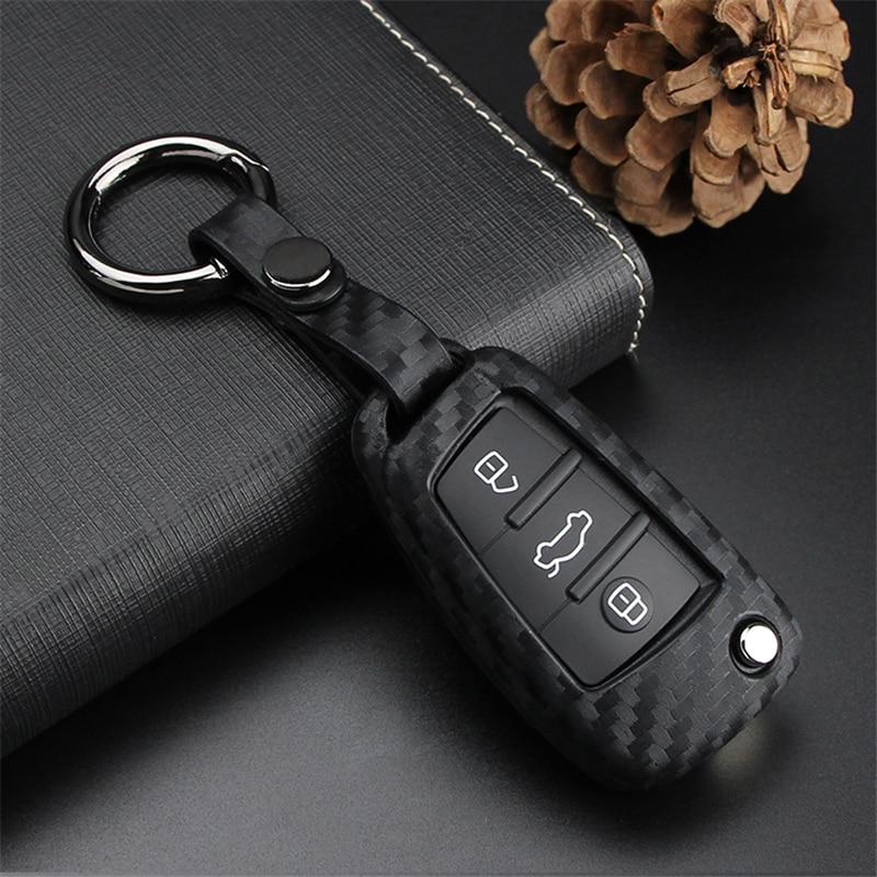 Carbon Fiber Pattern Soft Silicone Car Key Case Cover For Audi A3 A4 B7 B6 B8 A6 C5 C6 Q5 Q7 A4L Car Styling Key Ring Shell
