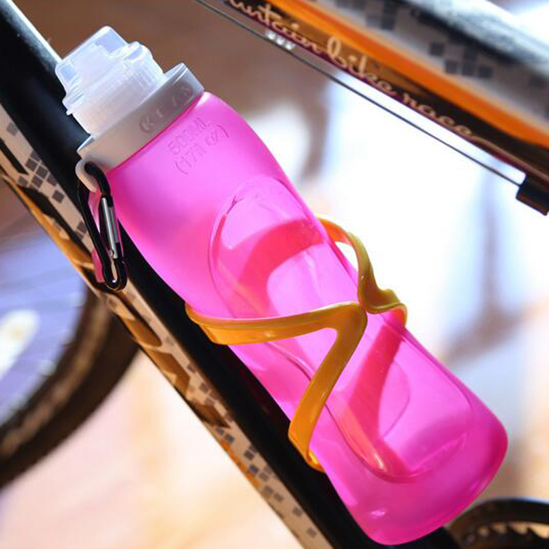 500ml Foldable Water Bottle Silicone Kettle Sports Drinkware Cycling Camping Outdoor