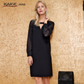Kaige.Nina New Women's Fashion Sexy Black Pure Color Long Sleeve Lace Decoration Straight And Knees In The Summer Dress 1238