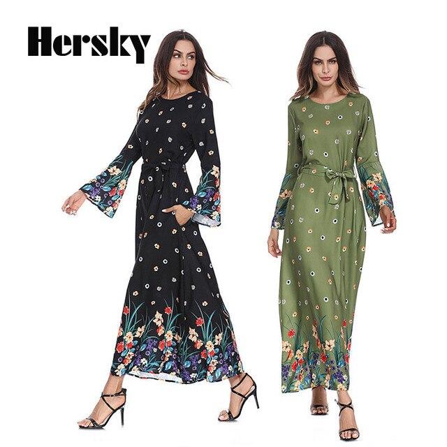 f2e37b830b54 Turkish Muslim Women Trumpet Sleeve Abaya Dress Arabic Islamic lady Clothing  Dubai Kaftan Fashion Flower Printed Woman's Gown