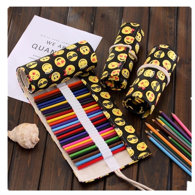 kawaii emoji Pencil Case Pouch Colorful Canvas Penalty School Cute Stationery Wrap Roll Up Pen Bag Student Gift 36/48/72 Holes 36 48 72 holes fold pencil case canvas pencil box zipper solid color pencil bag cute sketch pen case for student school gifts