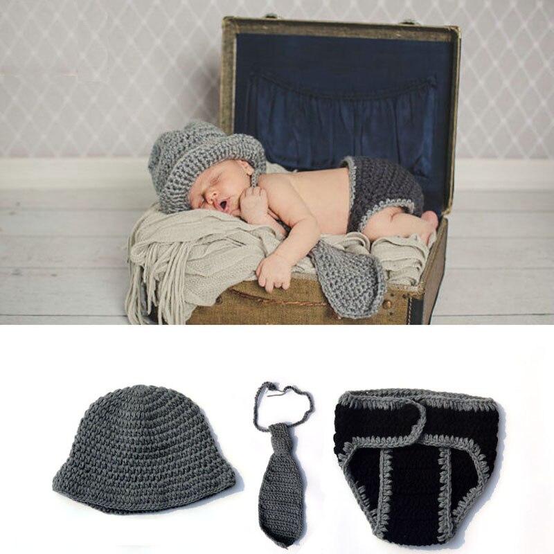 ᗐNiño recién nacido fotografía atrezzo Punto de ganchillo Caballero ...