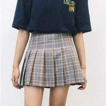 Women Pleat Skirt Harajuku Saia Faldas Preppy Style Plaid Skirts Mini Cute School Uniforms Ladies Jupe Kawaii Elasticity