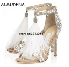 Fashion Crystal Embellished White High Heel Sandals With Feather Fringe Rhinestone Sandals Bridal Wedding Shoes For Women faux feather embellished solid tee