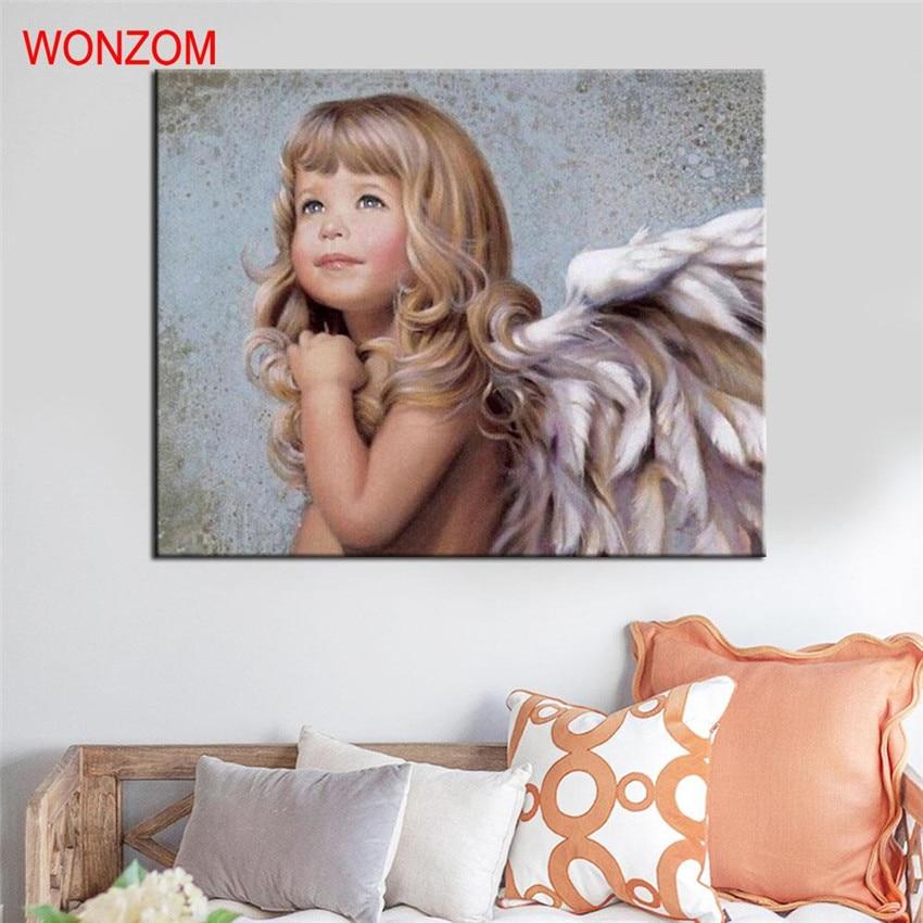 Ángel pintura por números diy pintado a mano ángel lienzo arte - Decoración del hogar