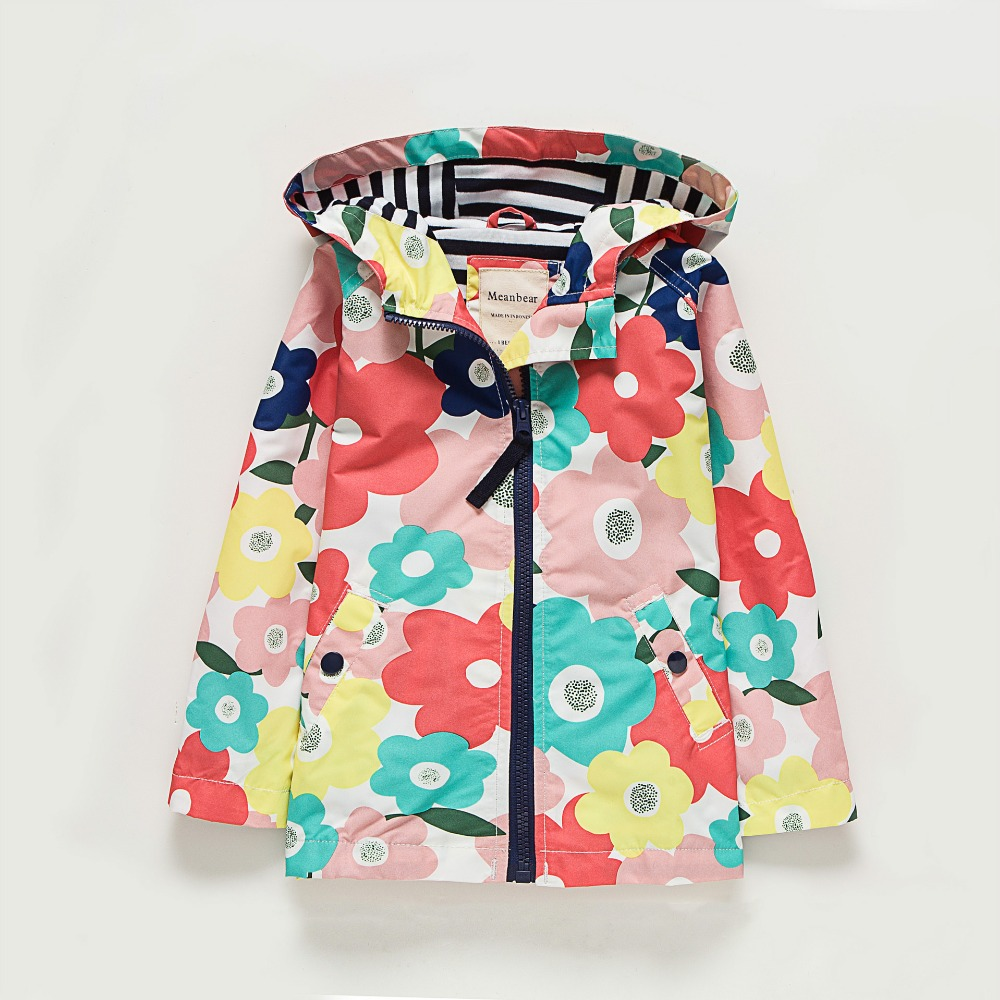 Storbritannien Original MeanBear Barn Jacka Girls Spring Flower Jacket Girls Windbreaker Kids Cheerful Girls Spring Jacket