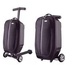 New Men Fashion skateboard Trolley Suitcase Travel bag on wheels,Women Rolling Luggage bag ,Student multi-purpose brand suitcase(China)