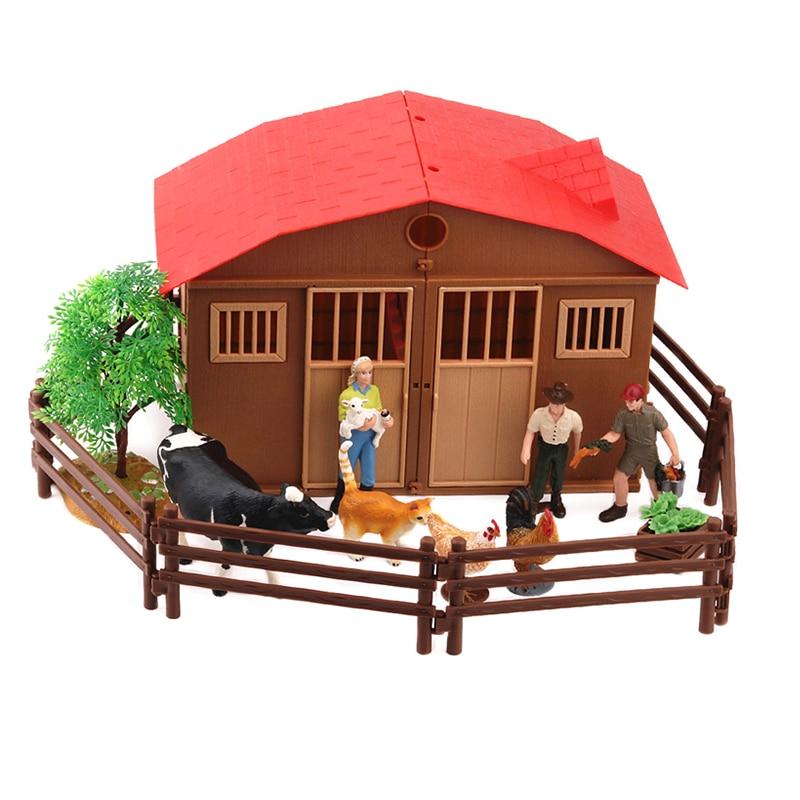 Genuine pasture farm house animal  figure set cattle horse cow worker kid toys