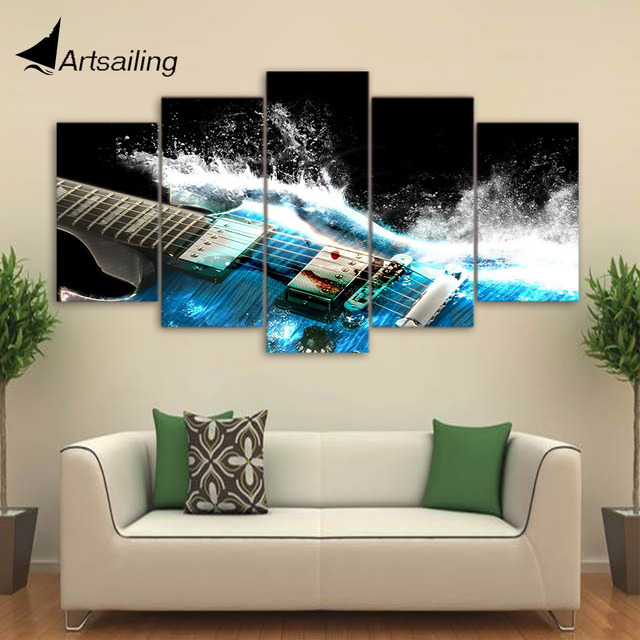 5 Pieces Canvas Art Painting Printed Abstract Guitar Wall Art Print Canvas  Painting Home Decor For