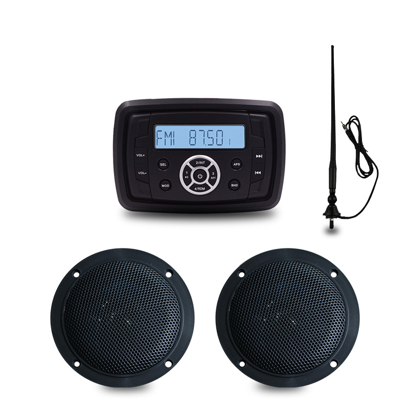Marine Stereo Boat Audio Bluetooth Radio FM AM USB MP3 Player for Motorcycle Auto ATV UTV 4inch Waterproof Speaker+Black Antenna