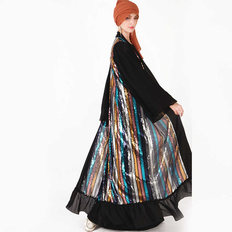 Открытый абайя блесток кардиган хиджаб мусульманское платье кафтан Турция халат Дубай Рамадан Абая для женщин Кафтан турецкая исламская одежда
