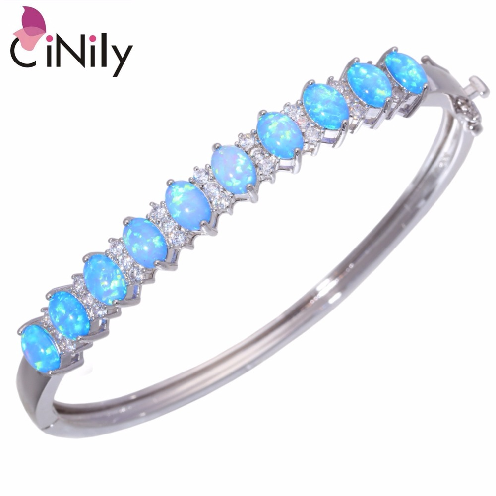 CiNily Created Blue White Fire Opal Cubic Zirconia Silver Plated Wholesale for Women Jewelry Bangle Bracelet 8 3/4