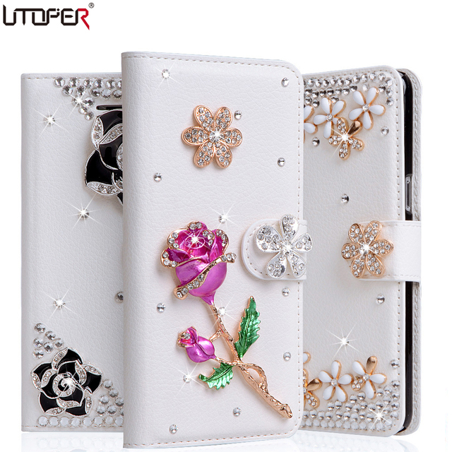 the latest 8b29c 33b25 US $6.99 40% OFF|Flip Case For iPhone 8 Case Glitter Crystal Stone Leather  Cover For IPhone8 8 Plus Luxury cover Flower Diamond Bling Wallet case-in  ...