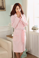 Free Shipping Hot Pink Peach Waffle Bathrobe Robe Women Ladies Girl Super Softskin Spa Summer Soft