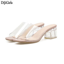 Sandalias Verano Mujer 6cm Low Transparent Slippers Summer Womens Sandals Crystal Shoes Casual Thick Heels