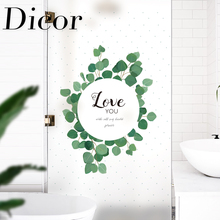 Ins Style Fresh Green Leaves Glass Window Decorative Film Decoration Home Living Room Bathroom Bedroom raamfolie