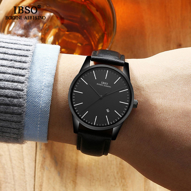IBSO Mens שעונים שחור אופנה עור רצועת זכר מזדמן שעונים 2019 למעלה מותג יוקרה גברים קוורץ שעונים Reloj Hombre # s8616G