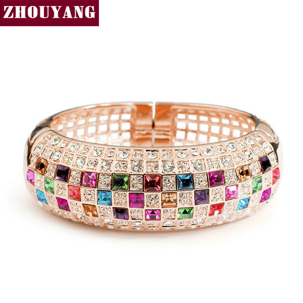 Top Qulaity Multicolour Crystal Rose Gold Color Bangle Jewelry Made with Genuine Austrian Crystals Wholesale ZYB003 ZYB002