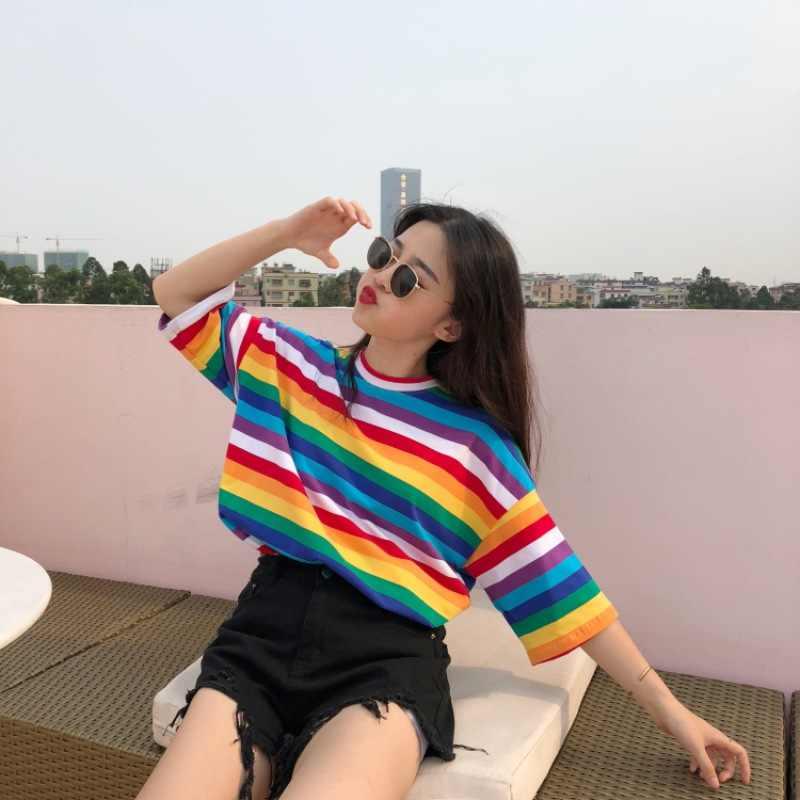 YYFS สายรุ้งลายเสื้อยืดผู้หญิง Harajuku Tops 2019 เสื้อใหม่ฤดูร้อนแขนสั้นสไตล์เกาหลี streetwe เสื้อยืด camiseta feminina