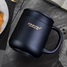 Pinkah 400 мл 304 термокружки из нержавеющей стали, Офисная чашка с ручкой с крышкой, изолированные чайные термос с крышкой-чашкой, офисные термосы