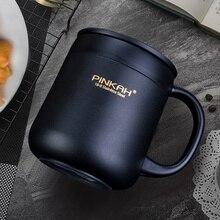 Pinkah 400ML 304 paslanmaz çelik termos kupalar ofis kulplu fincan kapaklı yalıtımlı çay kupa termos bardak ofis termos