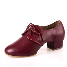 Ladies Latin dance shoes women sneakers leather shoes with soft bottom square girls dancing shoes Latin dance fitness shoes
