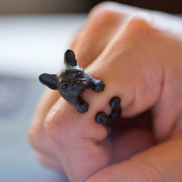 2017 Hiphop Rock Fashion Charming Lovely  Animal Lovely  French bulldog Pugs ring Wrap Ring cute for women Unisex Punk Rings