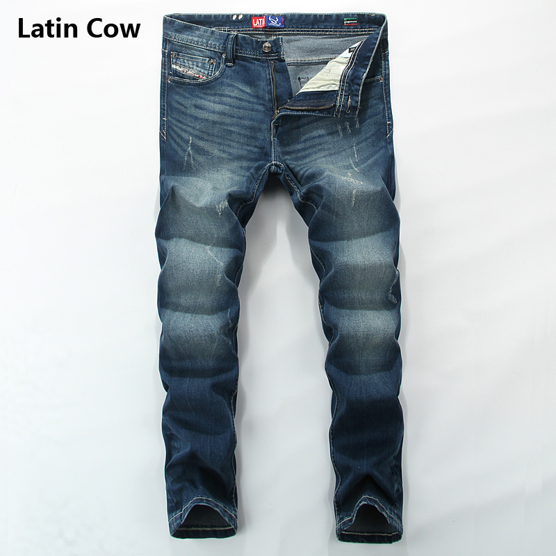 Distressed Blue Jeans Latin Cow Brand Clothing Mid Stripe Casual Slim Fit Men`s Moto Jeans Uomo Denim Pants Full Size T3512 classic mid stripe men s buttons jeans ripped slim fit denim pants male high quality vintage brand clothing moto jeans men rl617
