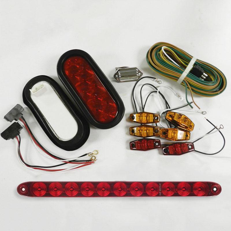 Submersible Waterproof Trailer Tail Light Oval Stop Turn Signal Brake LED Light
