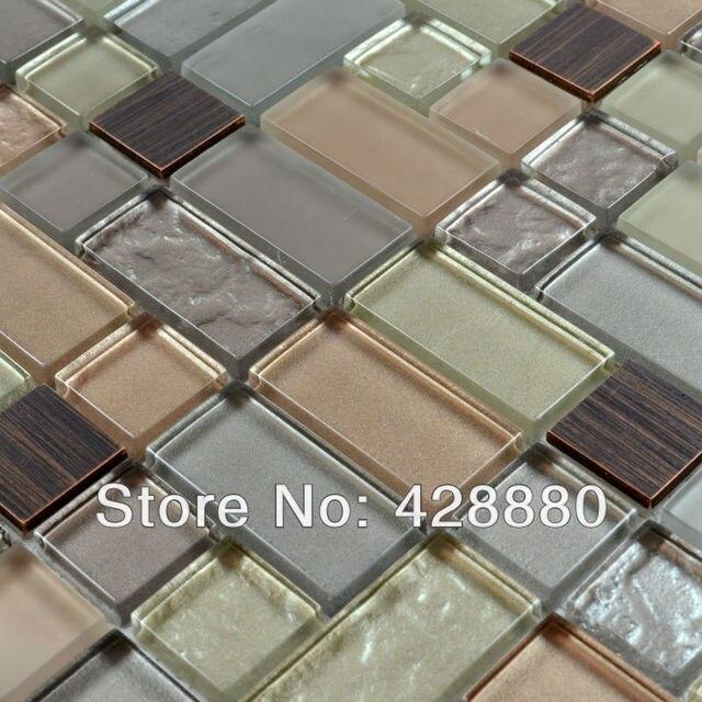 Crystal Mosaic Tiles Copper Maze Hand Painted Metallic Mosaics Pool Brick Border Mesh Sheet Metal Kitchen