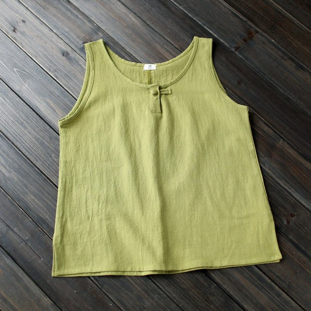 8 Candy color Linen Cotton Women Tank Tops Chinese style Vintage Brief Cute Tank Top Women Kawaii Summer Vest Tops Femme A115