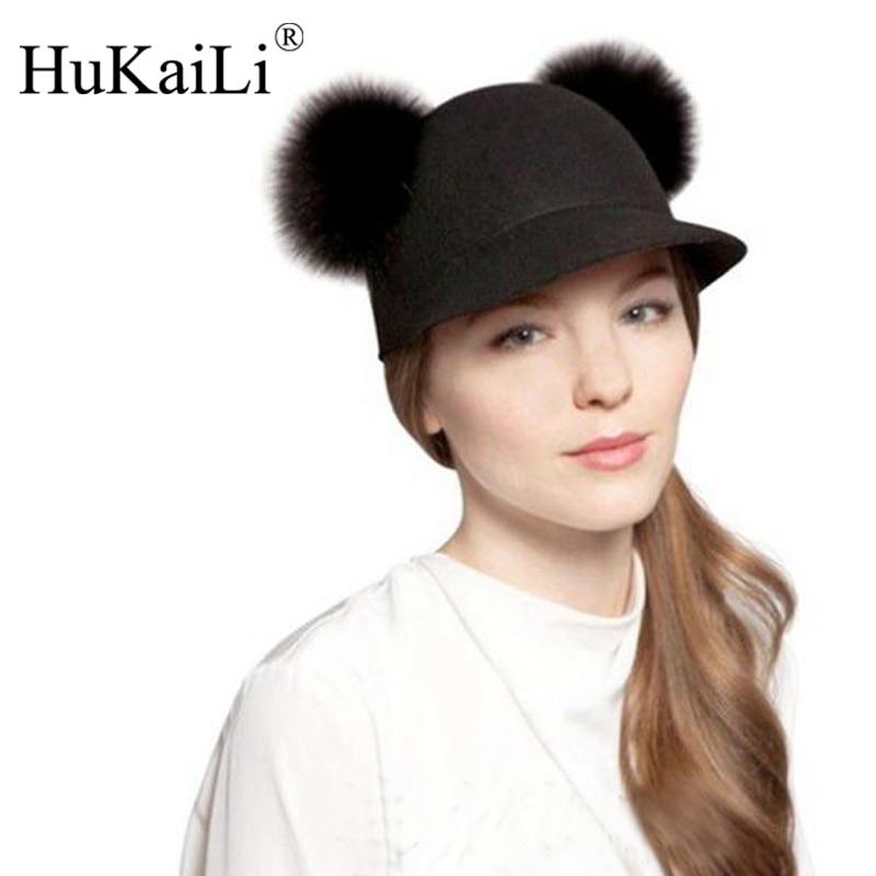 Prix pour Mode mode double boule de poils m bord court casquette de baseball bonnet de laine petit équestre chapeau occasionnel femelle chapeau