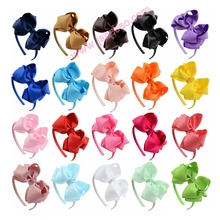 free shipping 50pcs Children Neon Grosgrain Ribbon Hairband Boutique Layers Bow Headband Hair Band For Toddler Hair Accessories