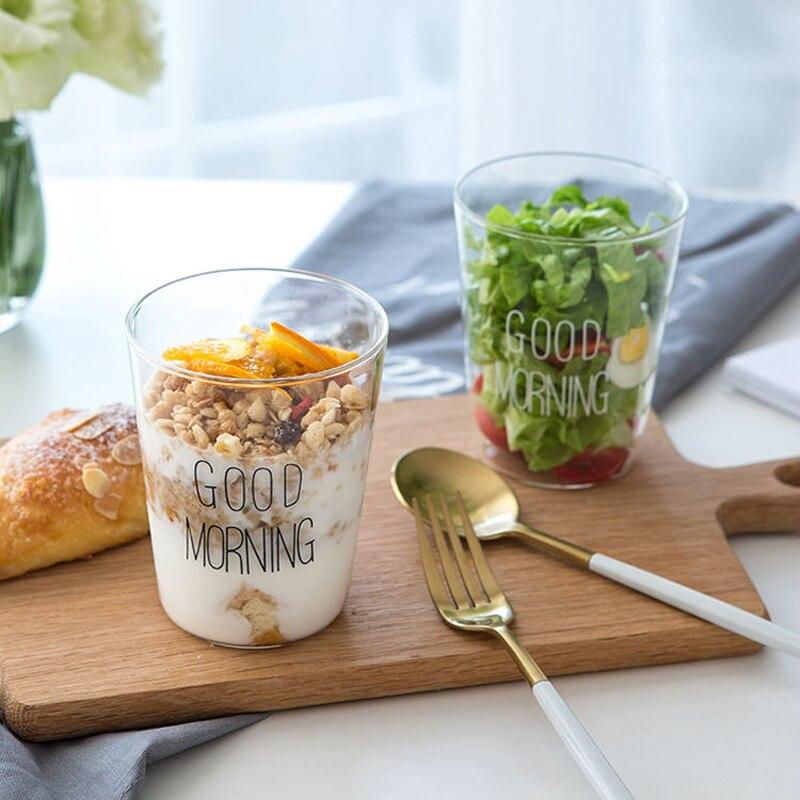 Us 1011 20 Off2 Stücke Glas Tassen 400 Ml Kurze Stil Guten Morgen Glas Frühstück Tassen Glasgeschirr Schöne Tassen Becher Für Milch Smoothie