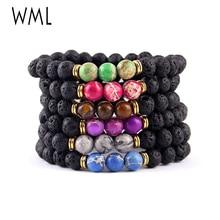 WML bracelet stack Energy Yoga Black Lava Stone Sea Sediment Imperial stone Beads men Bracelets for women jewelry accessories