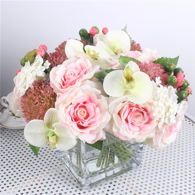 1 Set Mix Hydrangea Orchid Silk Artificial Roses Bridal Bouquet