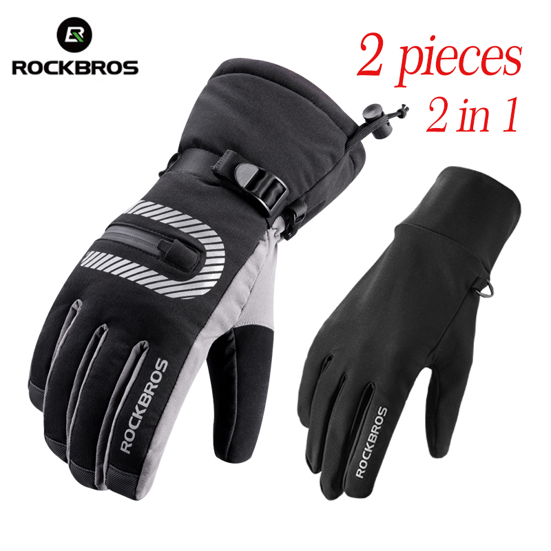 ROCKBROS Cycling MTB Bicycle Ski Gloves Windproof Waterproof Touch Screen Gloves Reflective Winter Outdoor Bike 2 IN 1 Gloves
