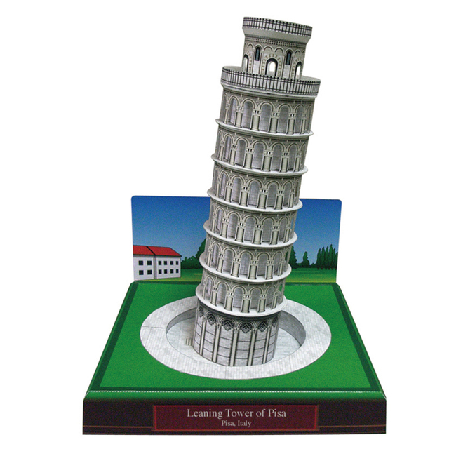 Leaning Tower Of Pisa Italy Craft Paper Model 3D Architectural Building DIY Education Toys Handmade
