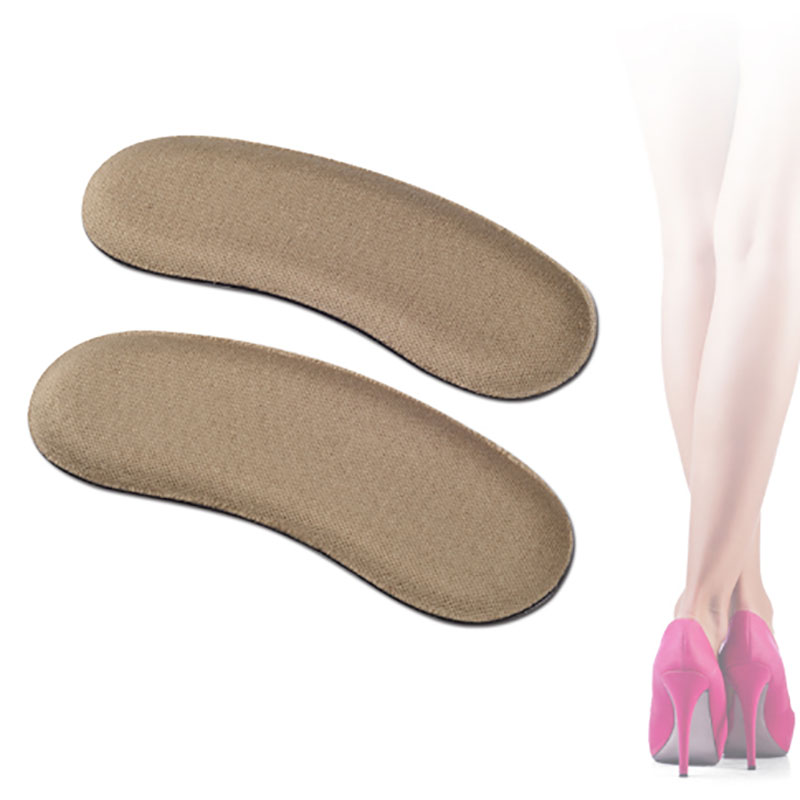 Black Grey Brown 2 Pairs Sticky Fabric Shoe Back Heel Inserts Insoles Pads Cushion Back Heel Insert