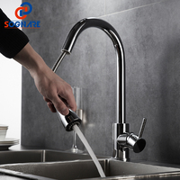 SOGNARE Pull Out Kitchen Faucet Newly Design 360 Swivel Solid Brass Hot And Cold Single Hole