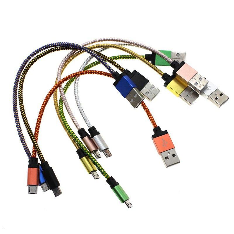 23,5 cm/1 mt/2 mt Geflochtenen Kupferdraht Micro Usb kabel Daten ...